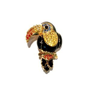 Swarovski Toucan Bird Brooch Pin Gold plating